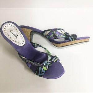 Sam & Libby Purple Satin Mule Heel Sandals